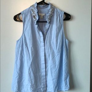 J Crew blue button up with embellished neckline